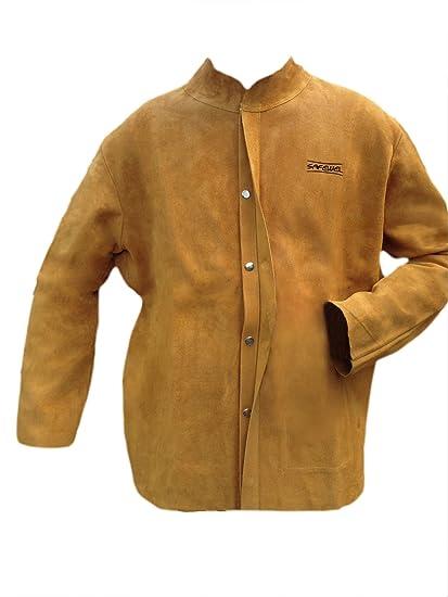 Safewel - Chaqueta de soldador (cuero, tamaño extragrande), color dorado