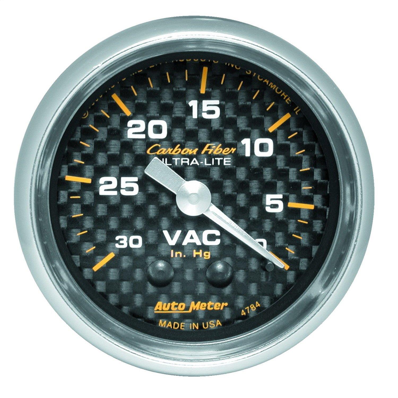 Auto Meter 4784 Carbon Fiber Mechanical Vacuum Gauge