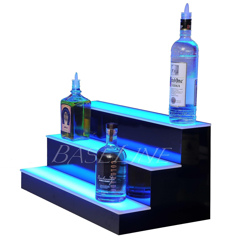 Baseline Inc. 24 3 Step Lighted Liquor Bottle Display Shelf with LED Color Changing Lights L.E.D