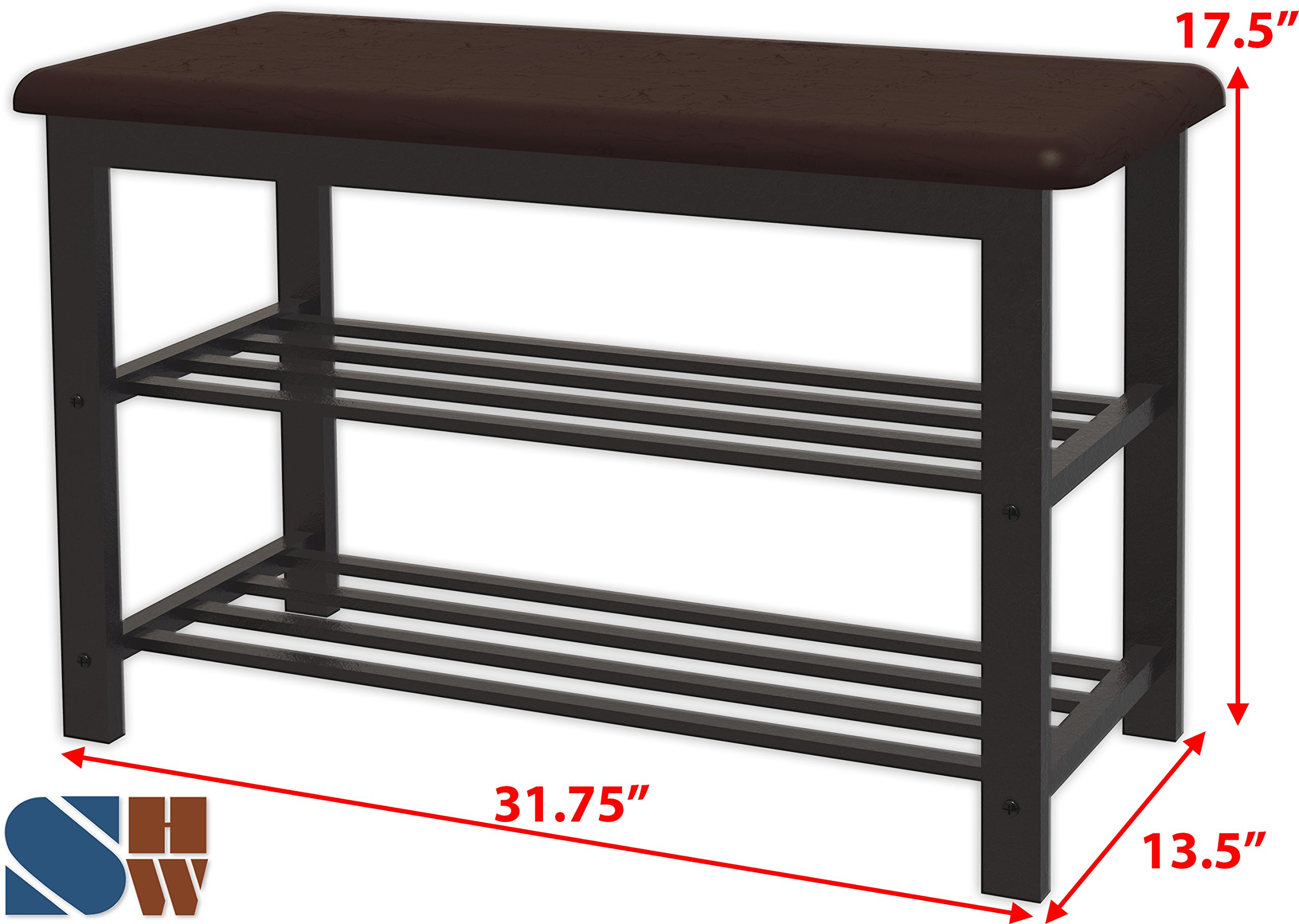 Simple Houseware Faux Leather Top Shoe Bench for Entryway Shoes Storage Organizer Rack by Simple Houseware (Image #2)