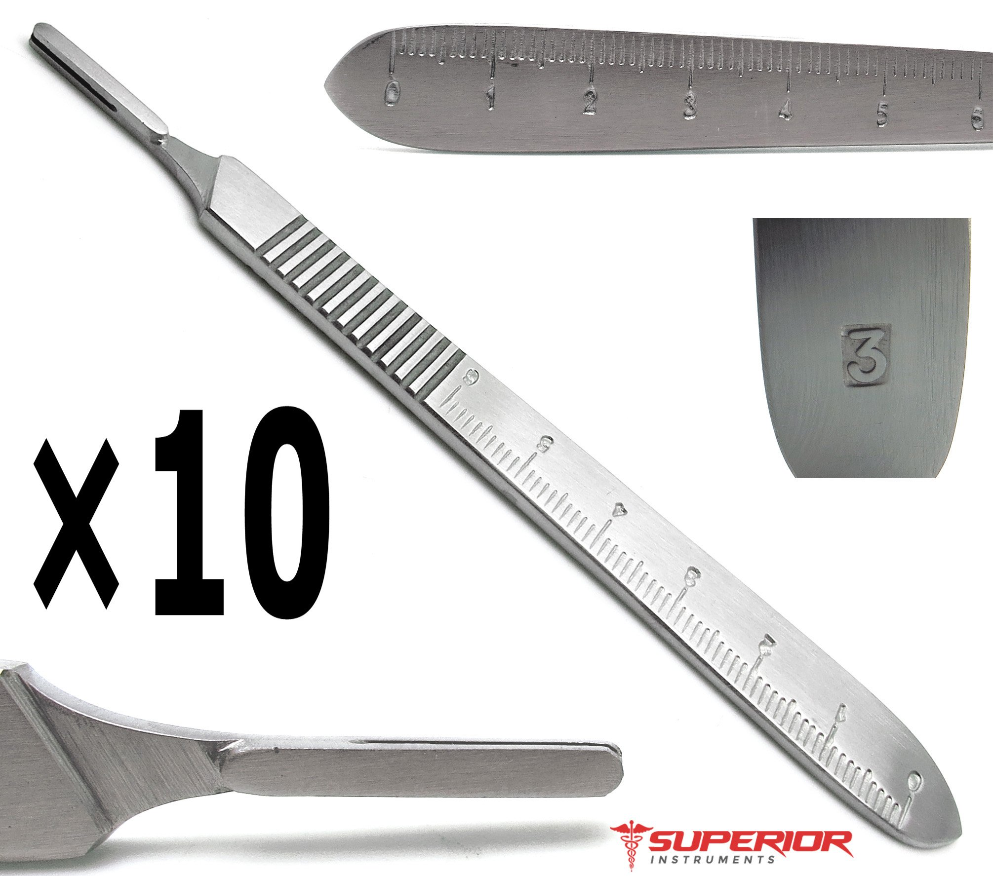 10 Pcs Dental Standard Scalpel Handle No. 3 Stainless Steel Superior Quality Instruments