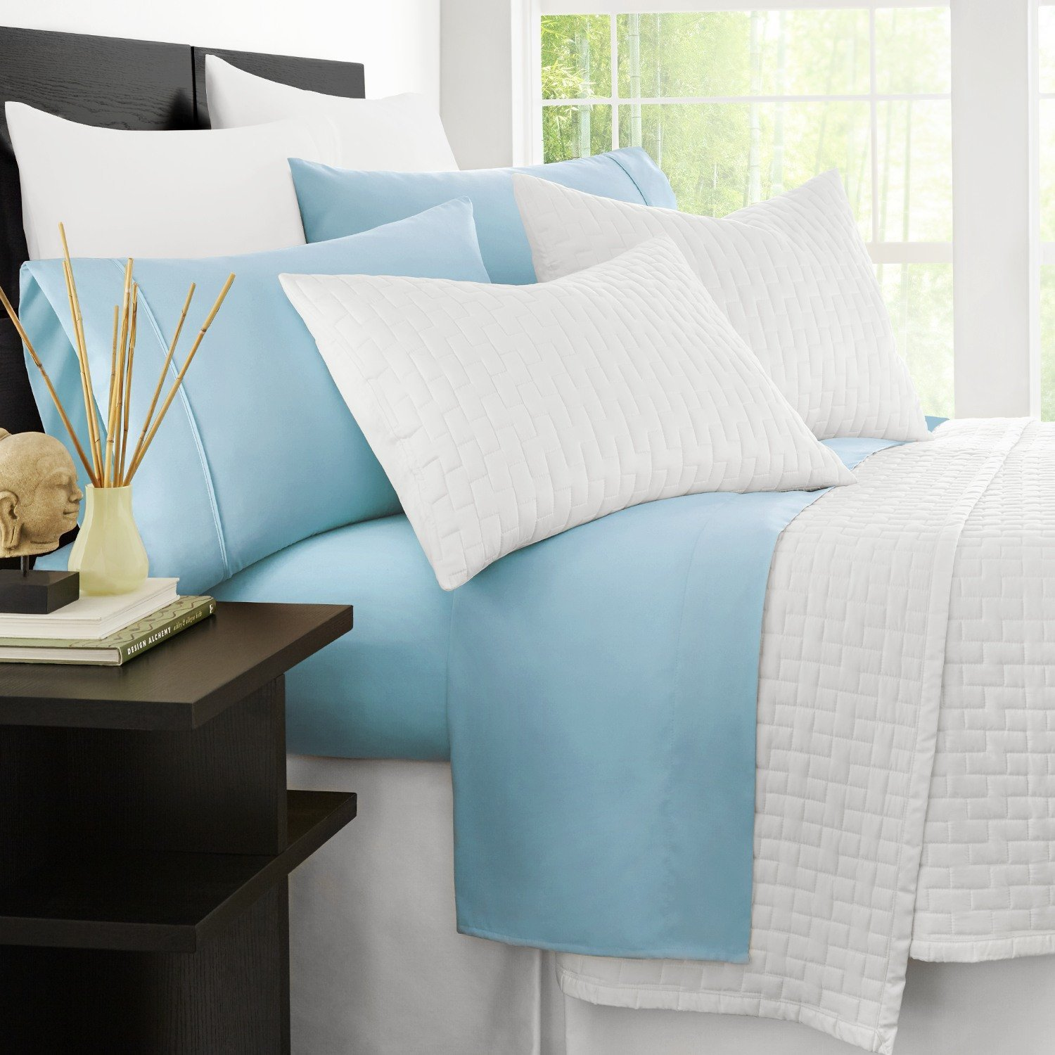 Zen Bamboo Luxury 1500 Series Bed Sheets - Eco-Friendly, Hypoallergenic and Wrinkle Resistant Rayon Derived from Bamboo - 4-Piece - Queen - Sky Blue