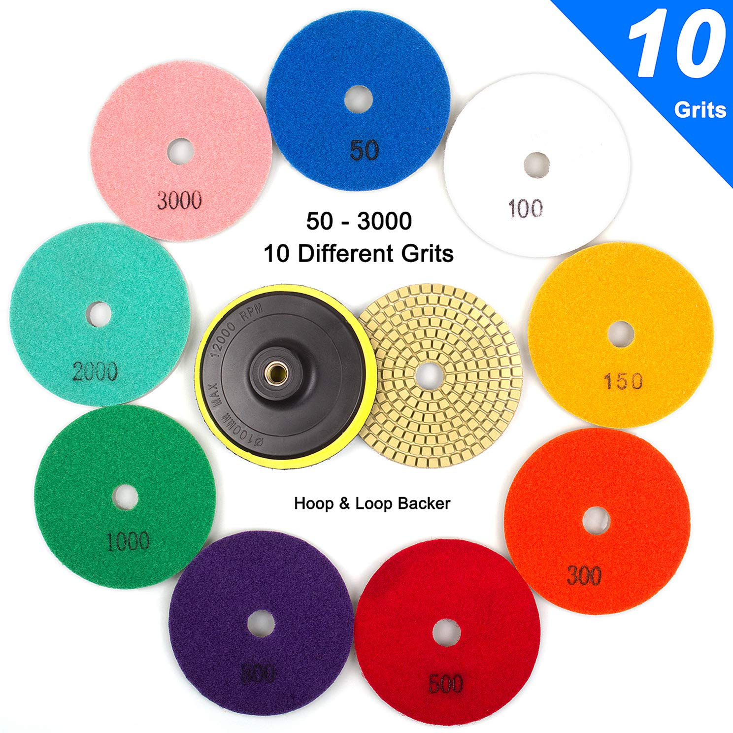 ADVcer Wet Diamond Polishing Pads Set, 4'' 10 Pads 50 to 3000 Grit with Hook and Loop Backing Holder Disc - Ideal Buffing Kit for Granite Concrete Marble Stone Countertop Tile Floor Grinder or Polisher by ADVcer