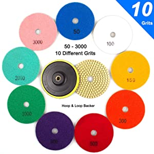 """ADVcer Wet Diamond Polishing Pads Set, 4"""" 10 Pads 50 to 3000 Grit with Hook and Loop Backing Holder Disc - Ideal Buffing Kit for Granite Concrete Marble Stone Countertop Tile Floor Grinder or Polisher"""