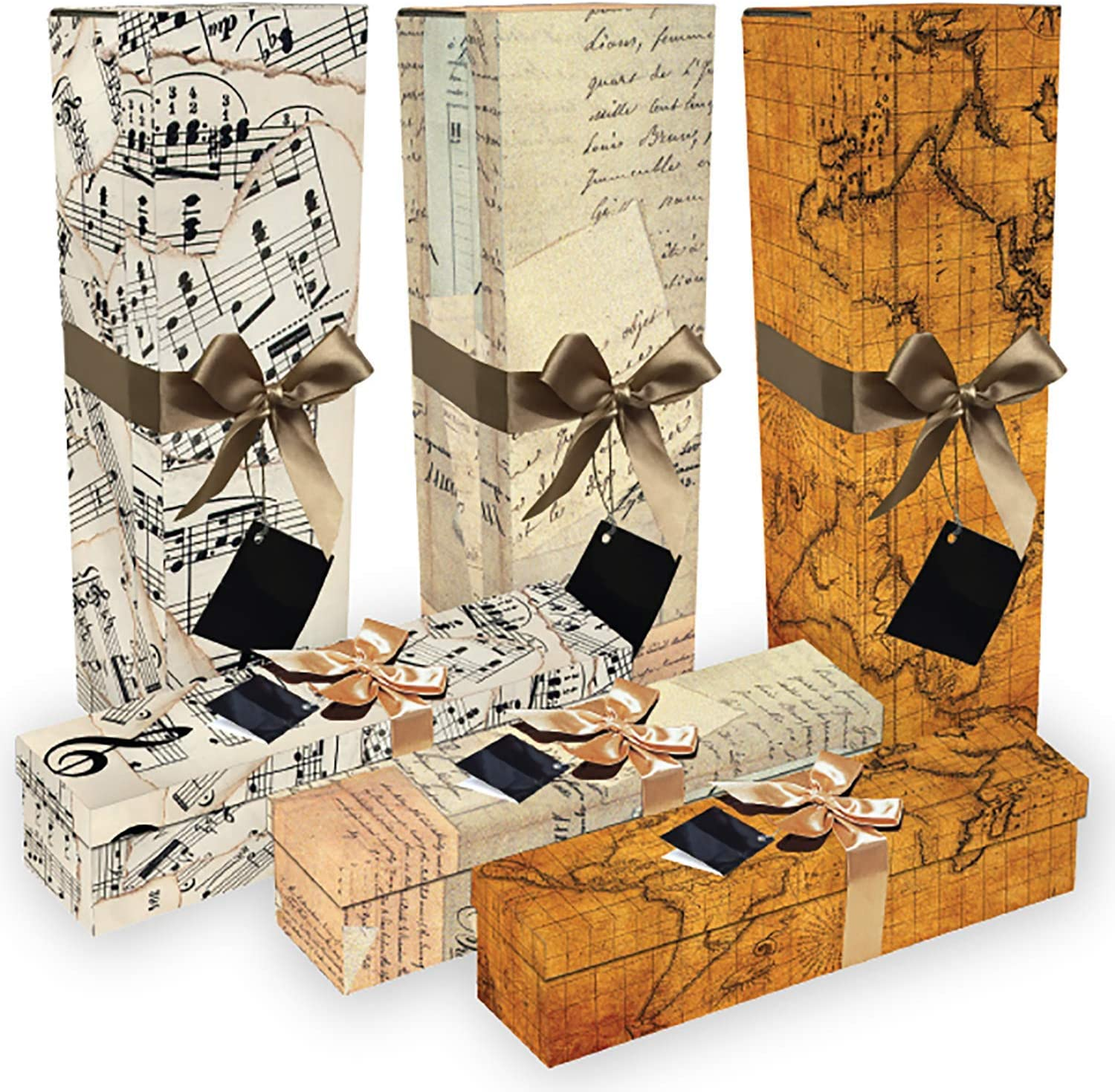 Champagne Gift Box Romanee Set of 3 Assorted Reusable Easy to Assemble No Glue Required Ribbon Bow and Gift Tag New Years Gift Box for Champagne