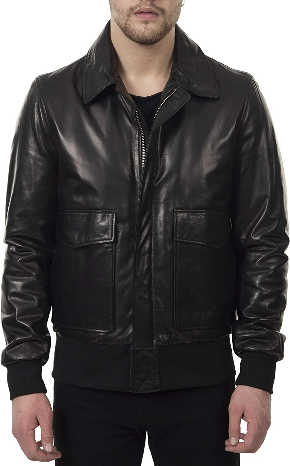Mens Jacket Real Soft Lambskin Leather Zipper Closure Shearling Double Collar Elasticated Waist and Cuffs Black
