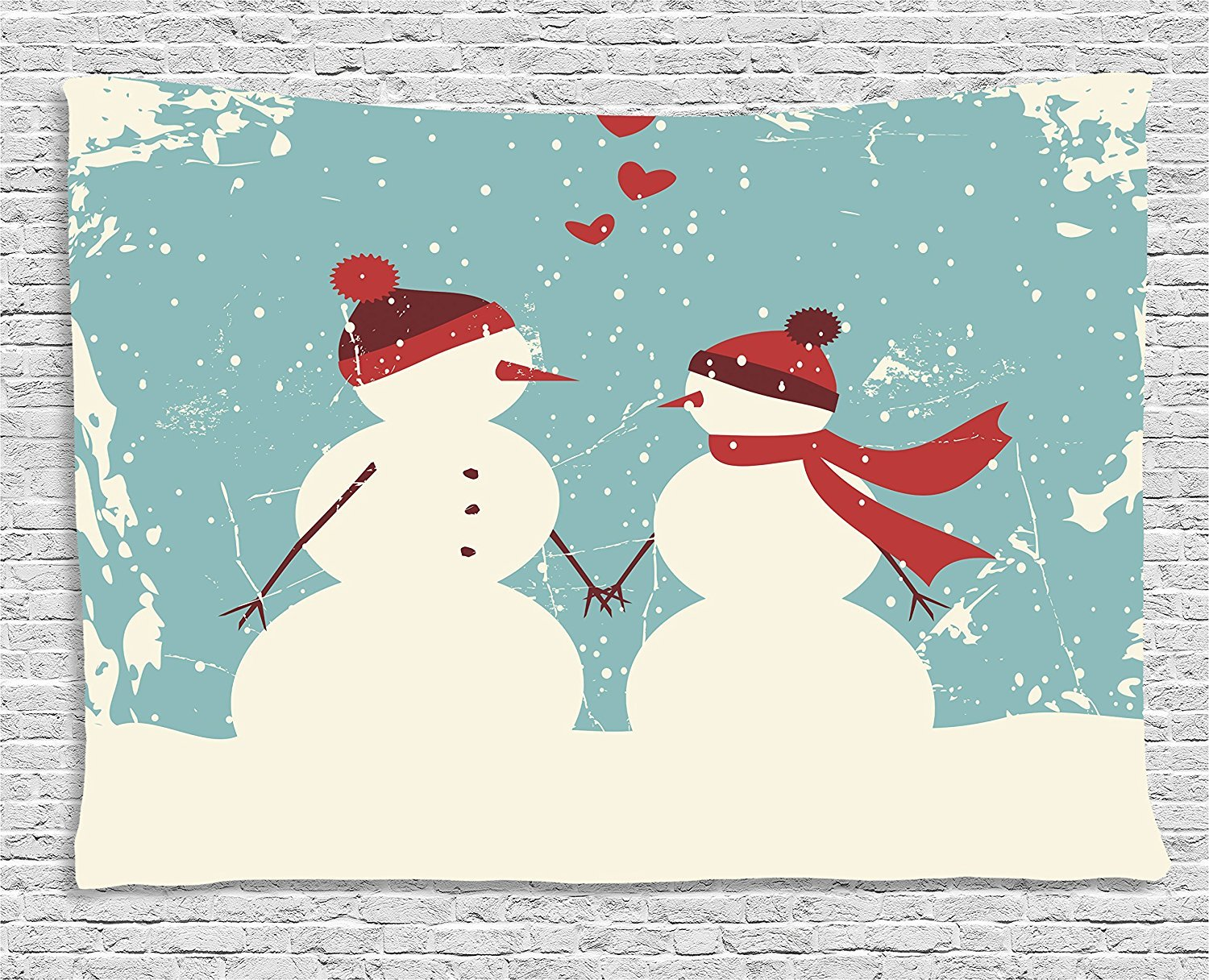 Christmas Tapestry, Snowman and Woman Romantic Couple In Love Holding Hands Grunge Display, Wall Hanging for Bedroom Living Room Dorm, 80 W X 60 L Inches, Seafoam Red Cream by asddcdfdd
