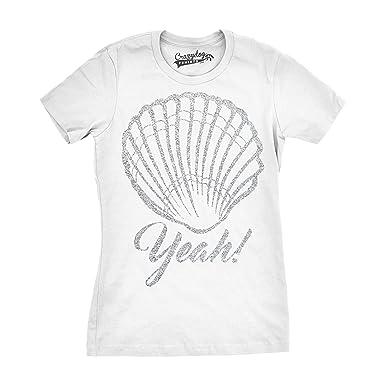 643ac06012ca Womens Shell Yeah Funny T Shirts Silver Glitter Print Cute Beach Summer T  Shirt (Black