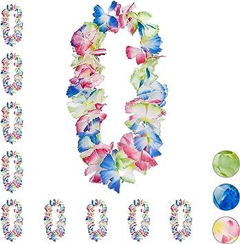 Relaxdays Pack 10 Collares Flores Hawaianas Waikiki para Decoración Fiesta, Cumpleaños y Carnaval, Poliéster, Multicolor, carbón, 9 x 18 x 54 cm: Amazon.es: Hogar