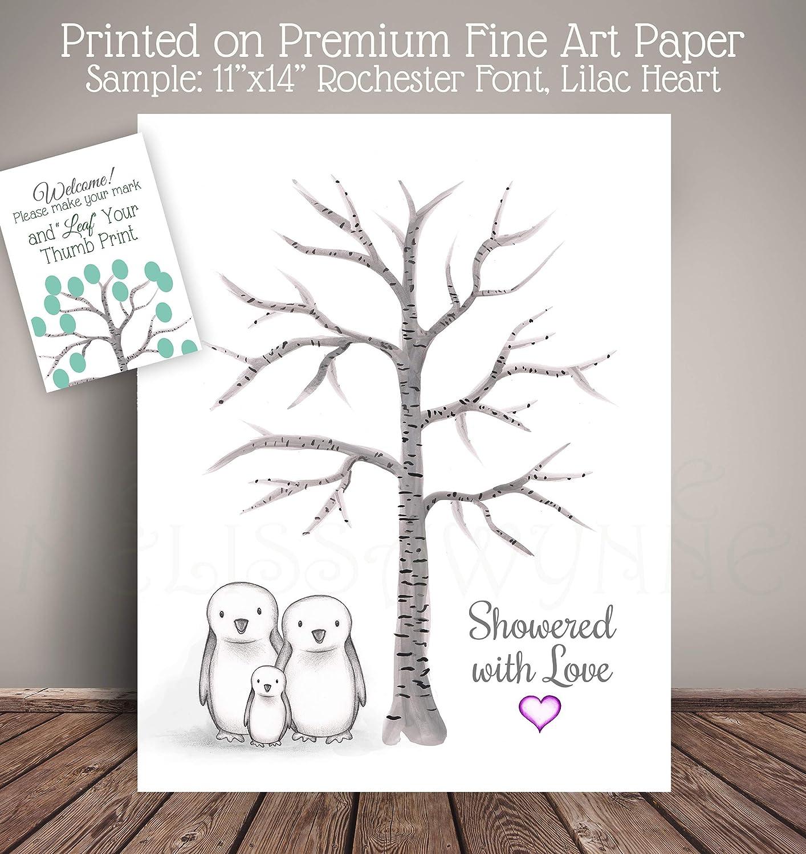 Penguin Family Baby Shower Guest Book Thumbprint Birch Tree, Pengiun Nursery, Fingerprint Tree PGBHT-TH