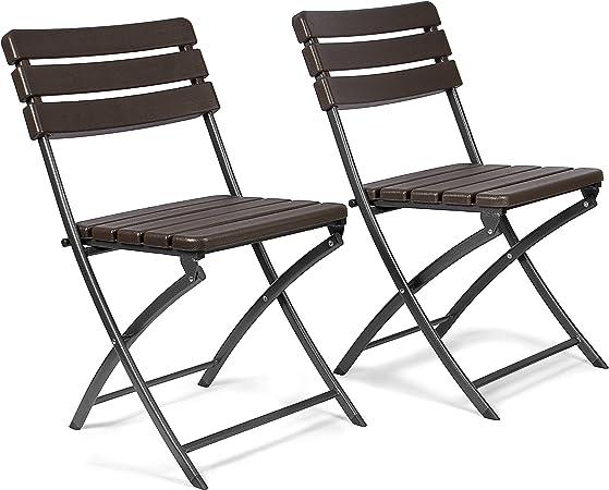 Vanage Chaises de Jardin Lot de 2 Chaises pliantes de haute qualité avec Effets bois Dossier haut Ultra confortable et Design intemporel !