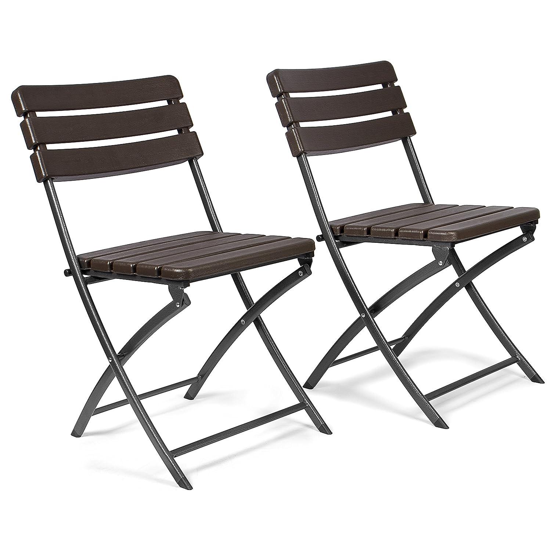 Vanage Sillas de Jardín, Balcon – Set de 2 Sillas Plegables, Óptica de Madera con Respaldo Alto ; En Negro o Marrón
