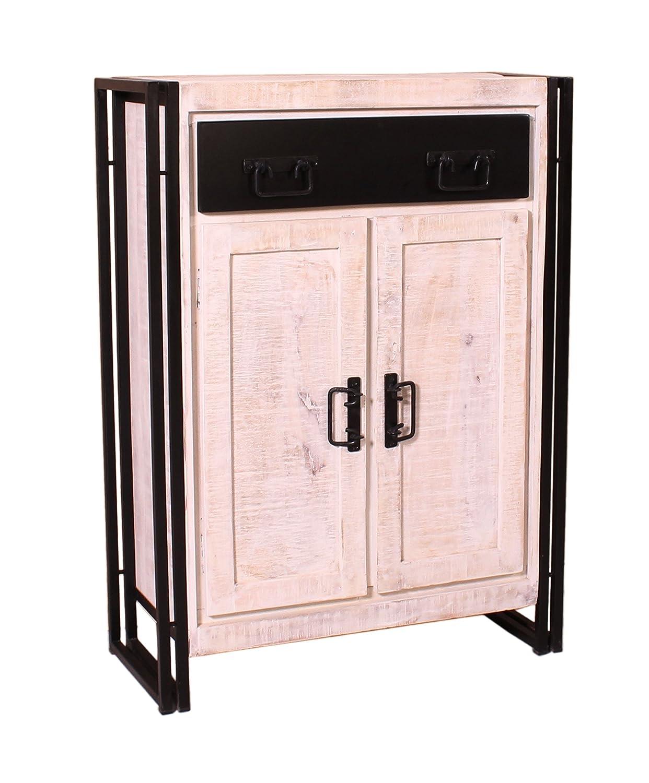 SIT-Möbel 7369-10 (White Panama) Highboard, Holz, weiß mit antikschwarz, 35 x 75 x 110 cm