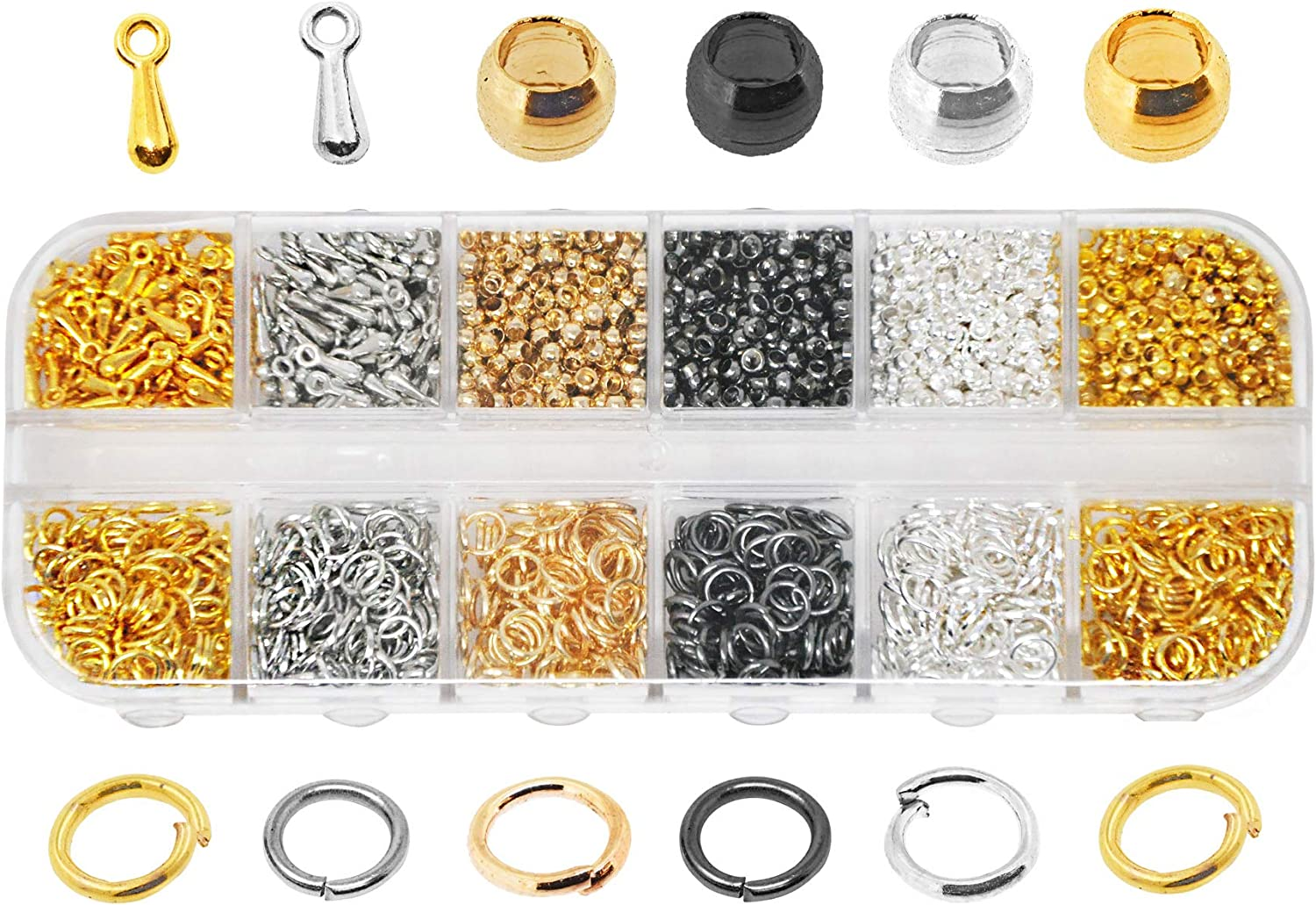 500 Pcs Metal Crimps Stopper Beads Bronze Gold Black Plated Silver
