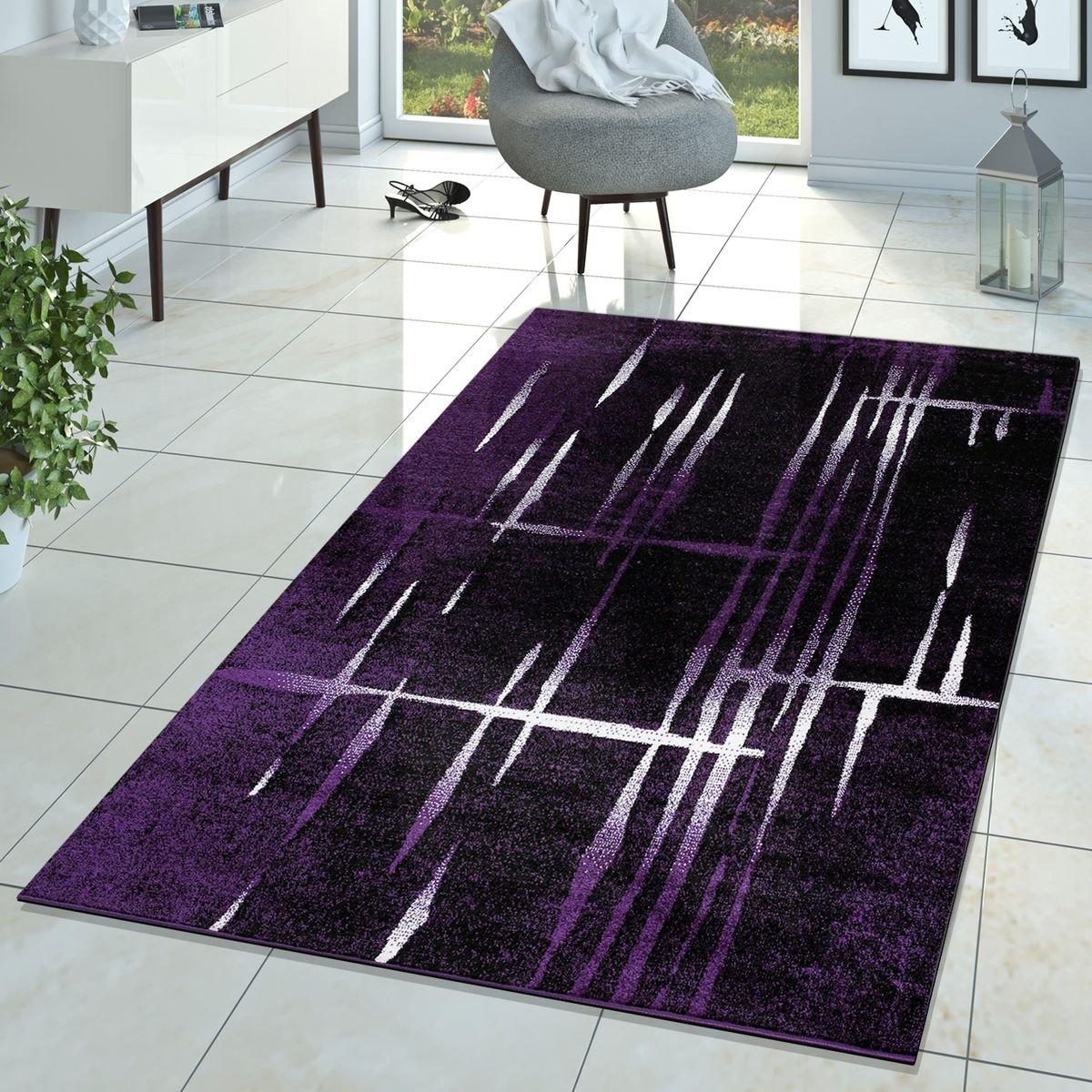 Moderner Wohnzimmer Teppich Matrix Design Kurzflor Meliert Lila Schwarz Creme, Größe:200x280 cm