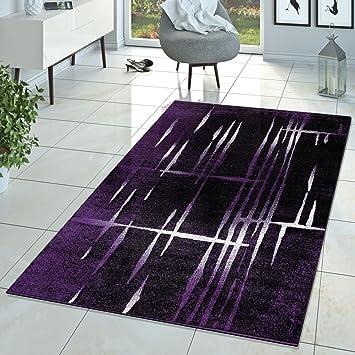 Hochwertig Moderner Wohnzimmer Teppich Matrix Design Kurzflor Meliert Lila Schwarz  Creme, Größe:60x100 Cm