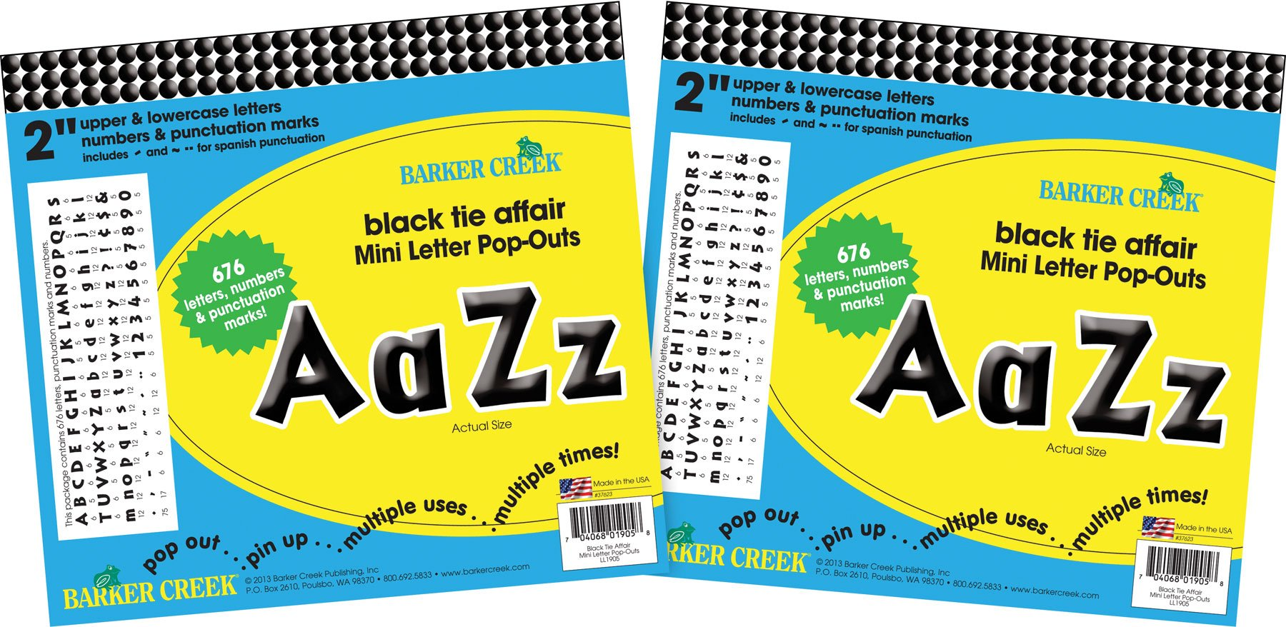 Barker Creek 2'' Letter Pop-Outs 2 Pack - Black Tie Affair (BC3654) by BARKER CREEK