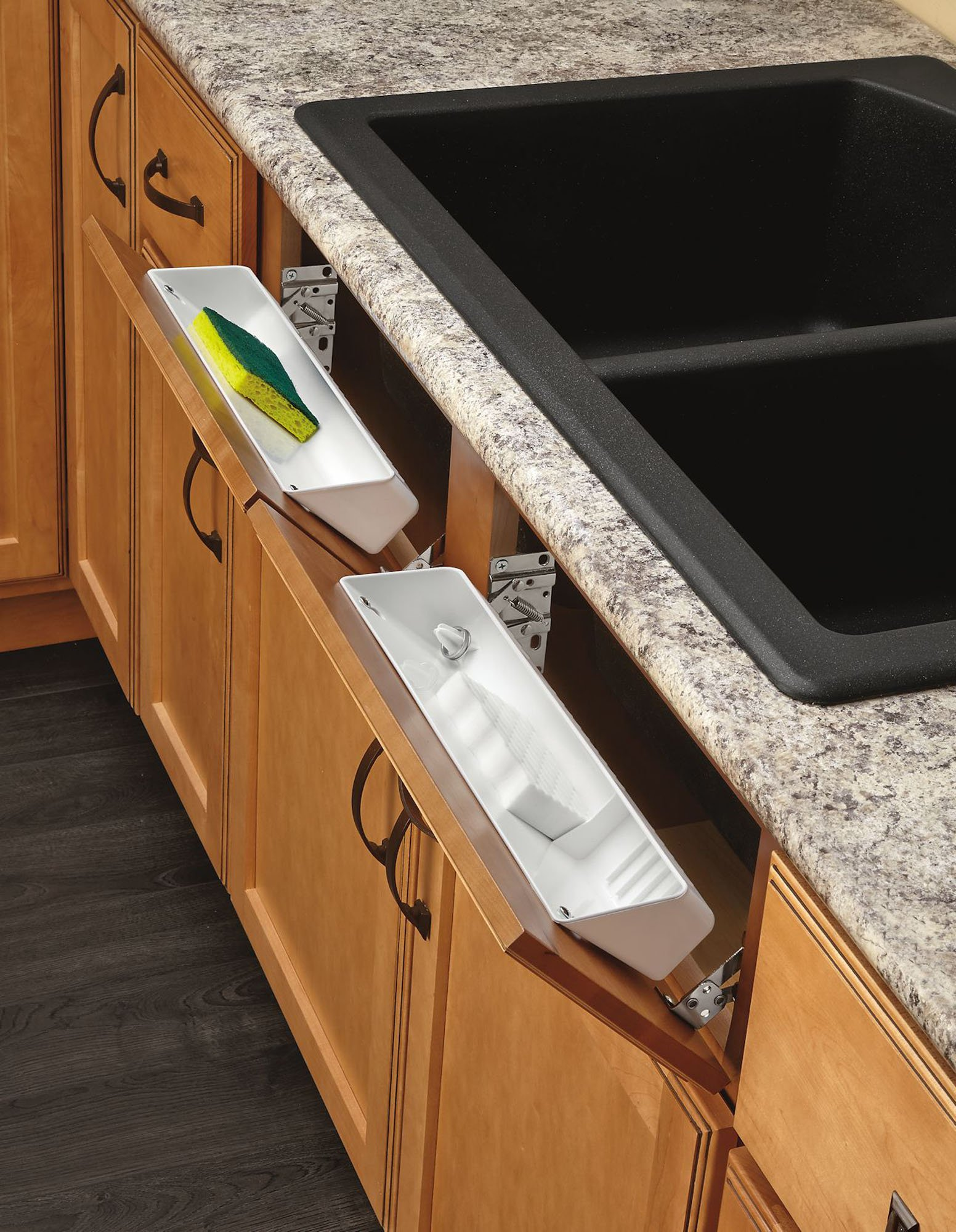 Rev-A-Shelf - 6572-14-11-52 - 14 in. White Polymer Tip Out Sink Front Trays and Hinges