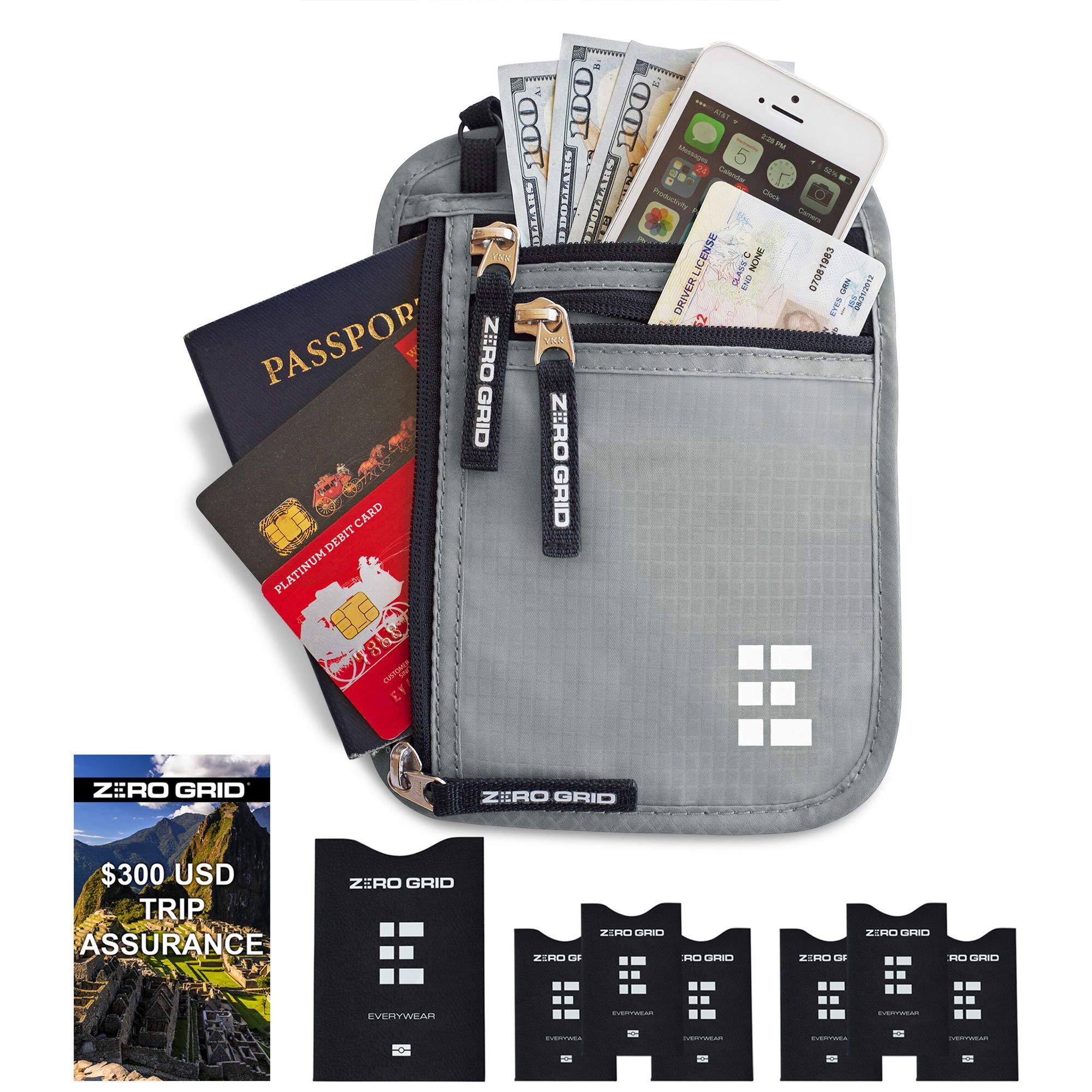 Zero Grid Neck Wallet w/RFID Blocking- Concealed Travel Pouch & Passport Holder (Ash) by Zero Grid