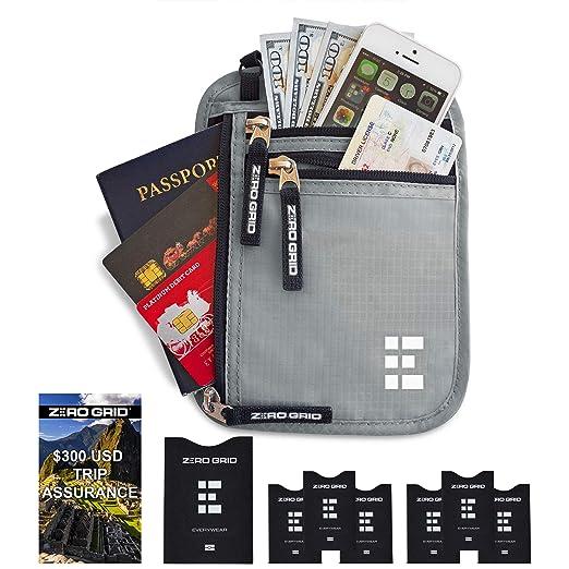 74e4a8442a21 Zero Grid Neck Wallet w/RFID Blocking- Concealed Travel Pouch & Passport  Holder