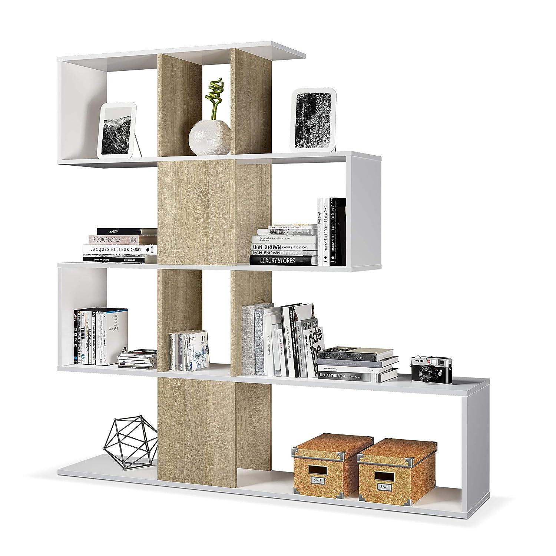Habitdesign 1F2251A - Estantería librería Zig Zag, estantería Comedor, Salon o despacho, Modelo Zig Zag, Medidas: 145 x 145 x 29 cm de Fondo (Blanco ...