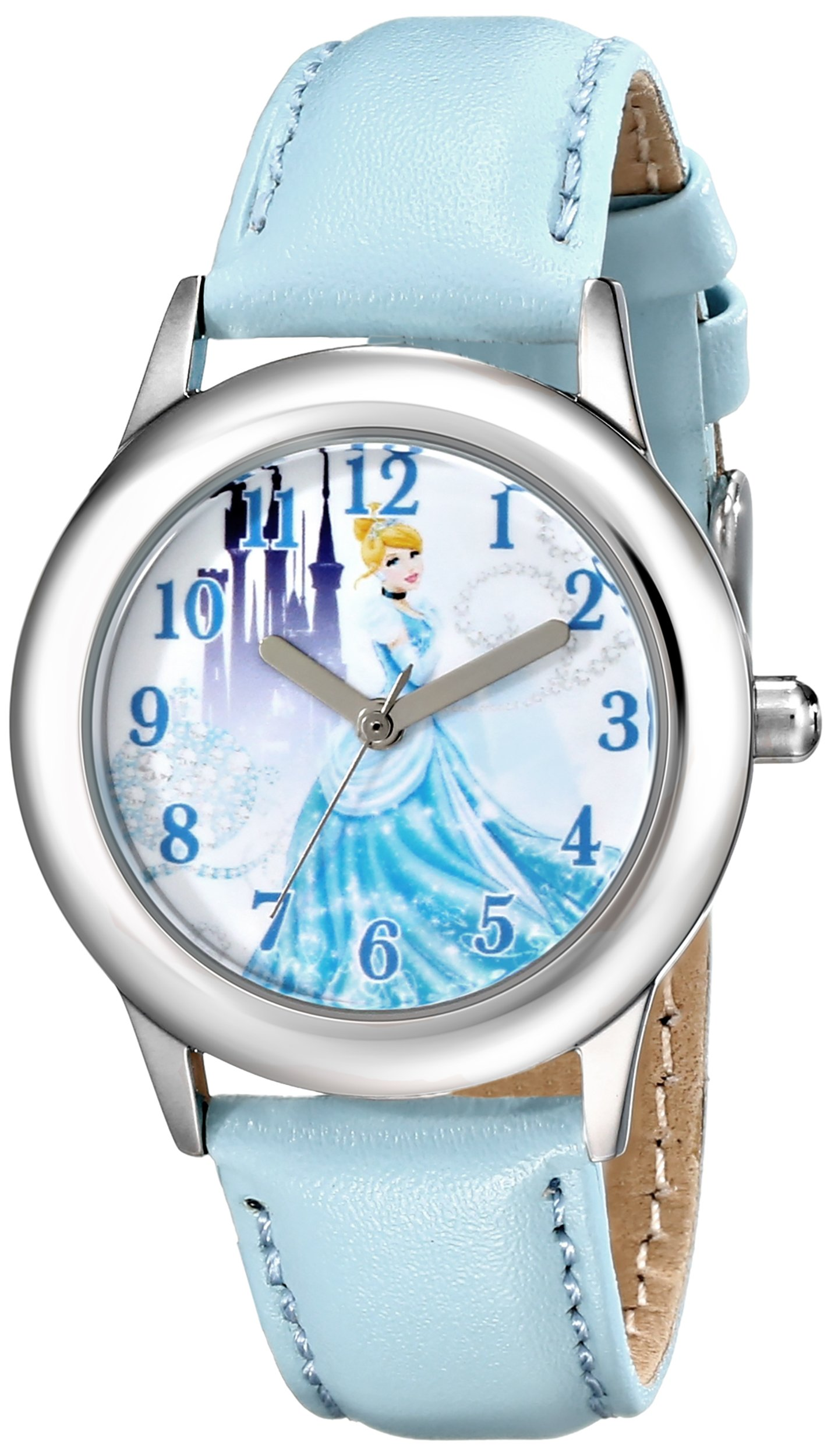 Disney Kids' W001598 Cinderella Stainless Steel Watch with Blue Leather Band