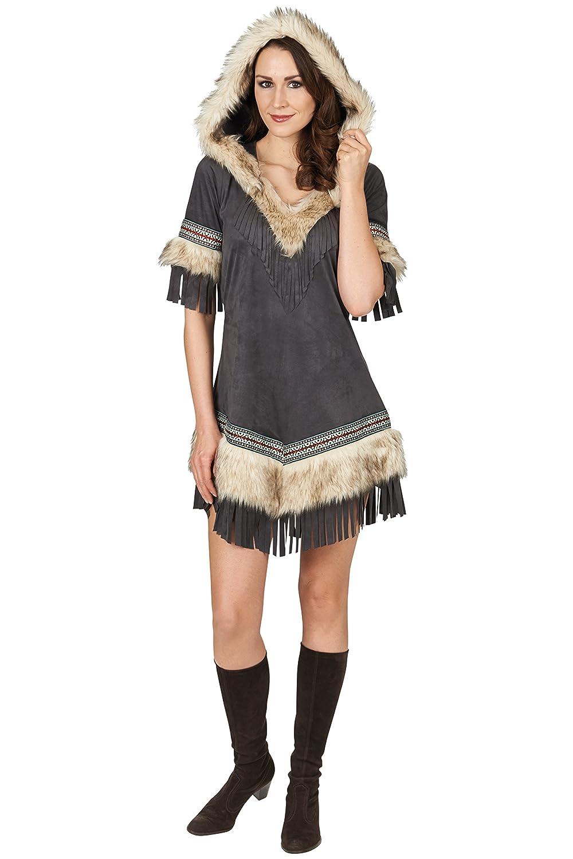 Elbenwald Indianerin Damen Kostüm grau Kleid mit Kapuze und und und Fellbesatz 41802e