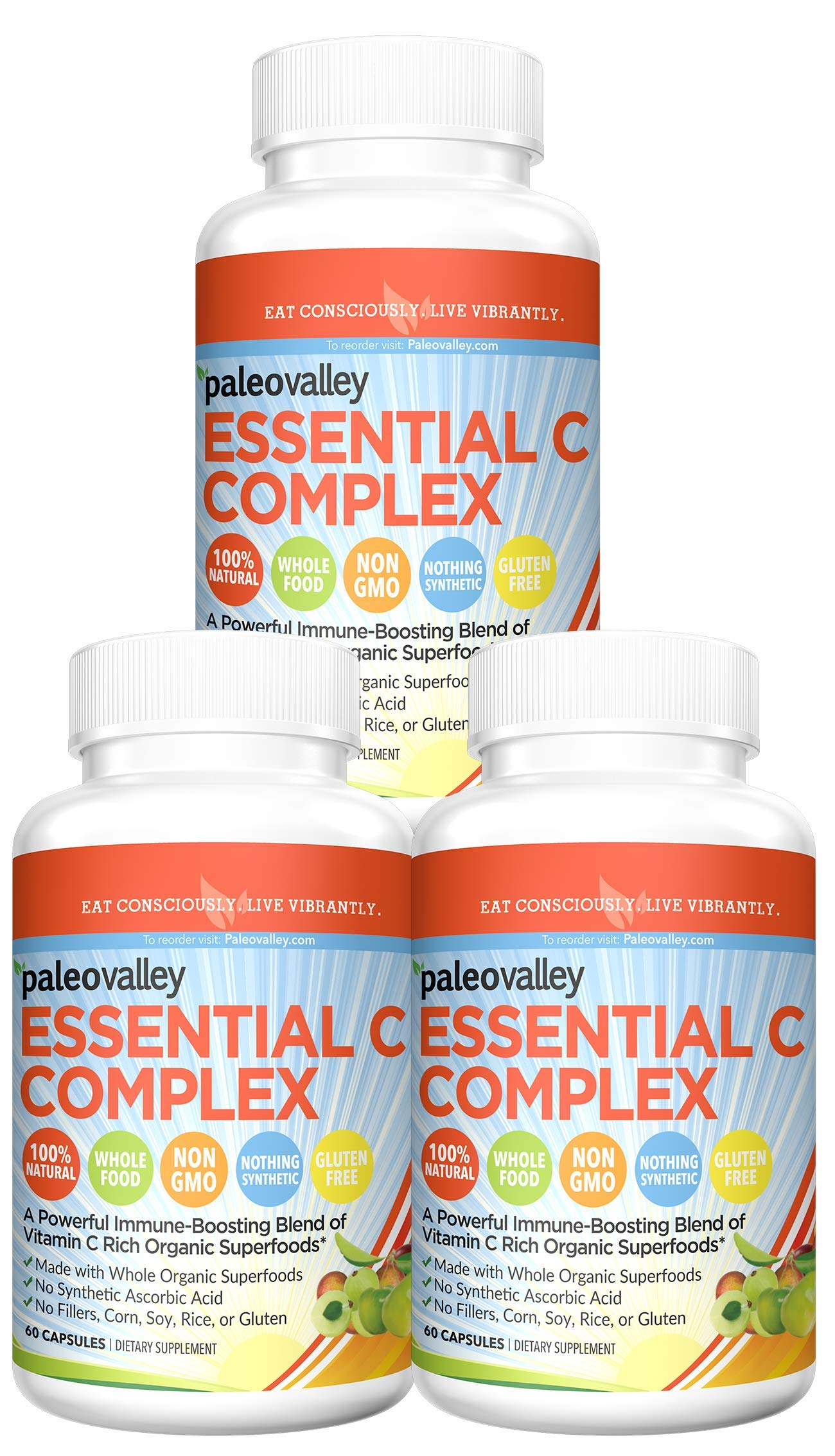 Paleovalley: Essential C Complex (450 mg, 30-Day Supply) - Vitamin C Supplement - 750% of Daily Value Per Serving - Boost Immunity - Non GMO - Gluten Free - Made with Organic Berries and Cherries by Paleovalley