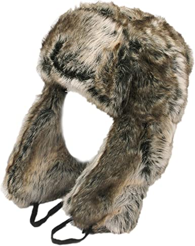 THICK WARM FULL FAUX FUR LINED RUSSIAN TRAPPER STYLE THERMAL HAT SILVER SNOW