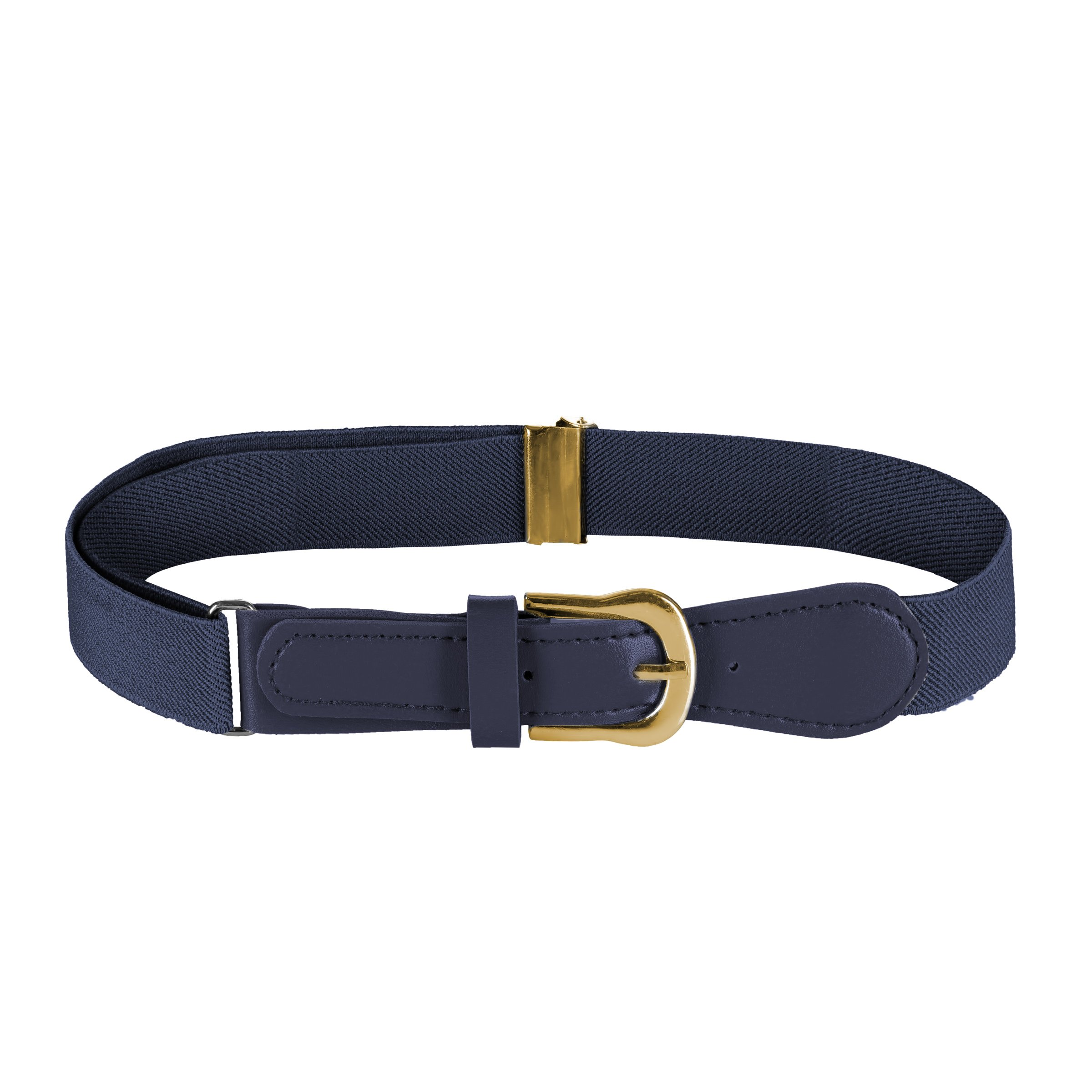 FIT RITE Kids Elastic Adjustable Belt with Leather Closure (Navy)