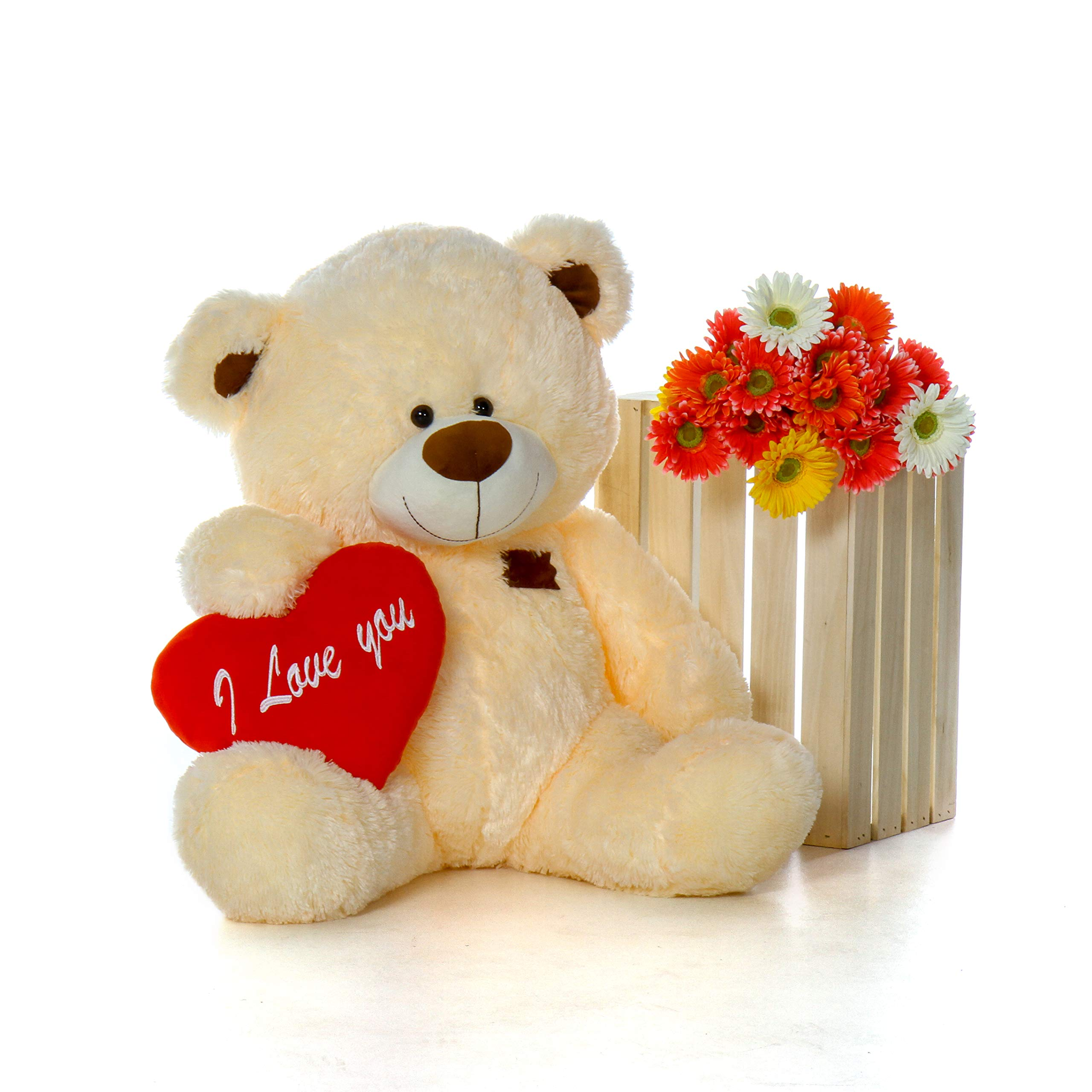 Giant Teddy Original Brand - Biggest Collection of Super Soft Stuffed Teddy Bears (Pillow Heart Included) (Vanilla Cream, Huge) by Giant Teddy