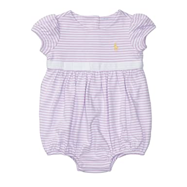 fb9f241b8 Ralph Lauren Baby Girls Striped Cotton Jersey Shortall (18 Months, Pale  Purple/White