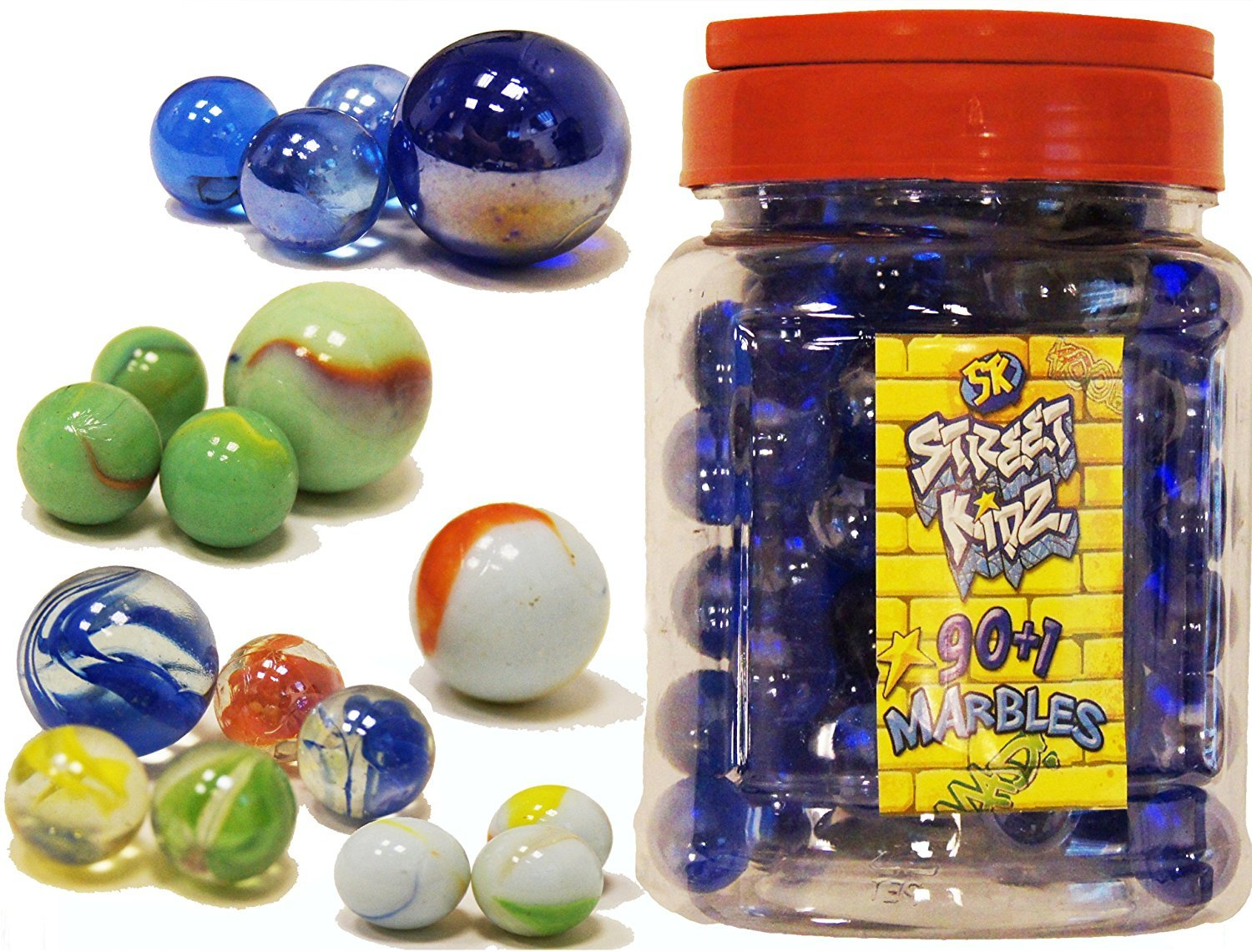 90+1 Glass Marbles Toy in a Jar Standard Size 16mm for Marble Run Game Street Kidz