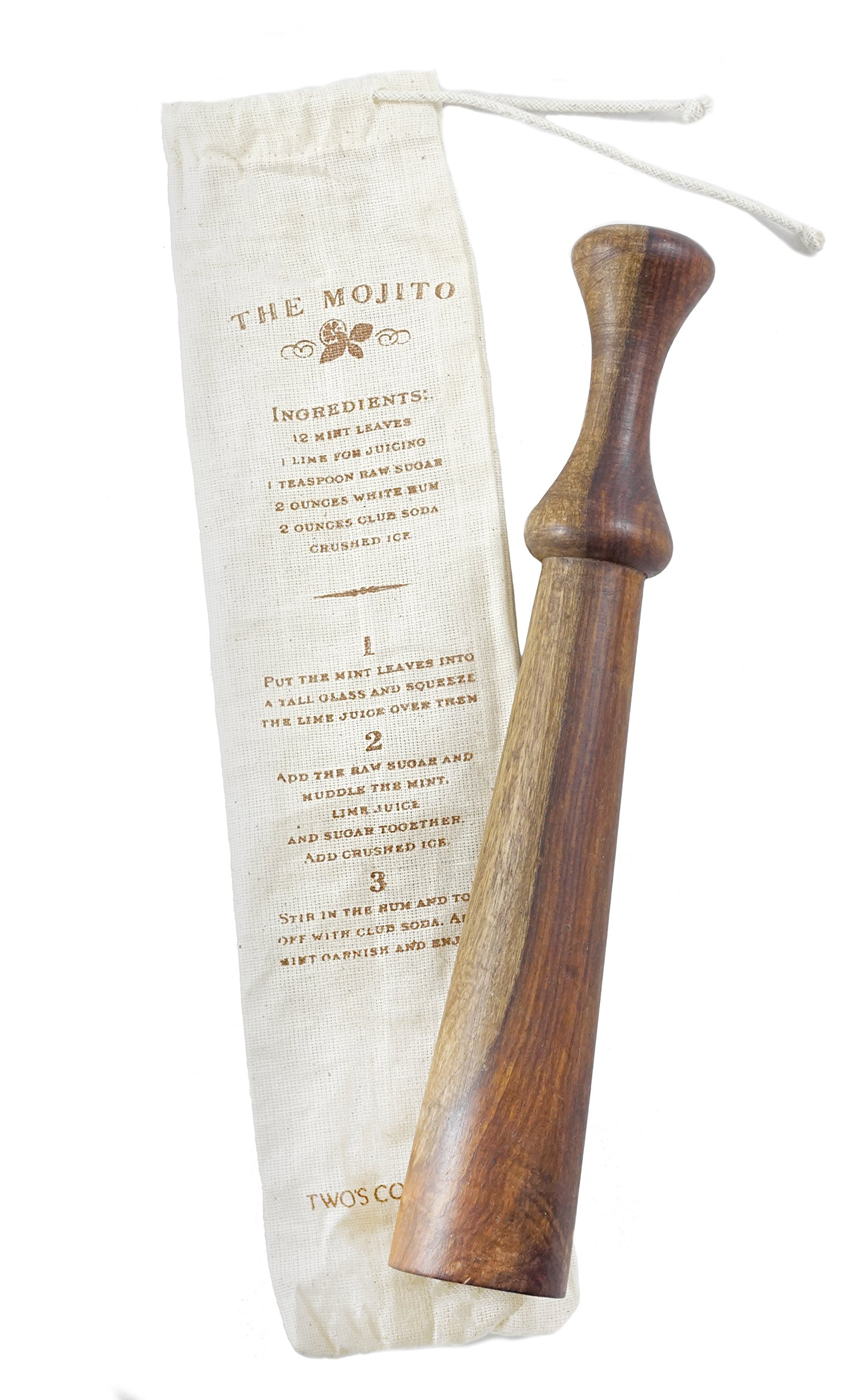 Old Fashioned Club Shaped Wooden Mojito Muddler with Gift Pouch