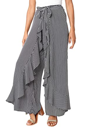 3dffb93ea55 leveltech Women s Summer Casual Palazzo Pants Striped Loose Wide Leg Pants ( White+Black