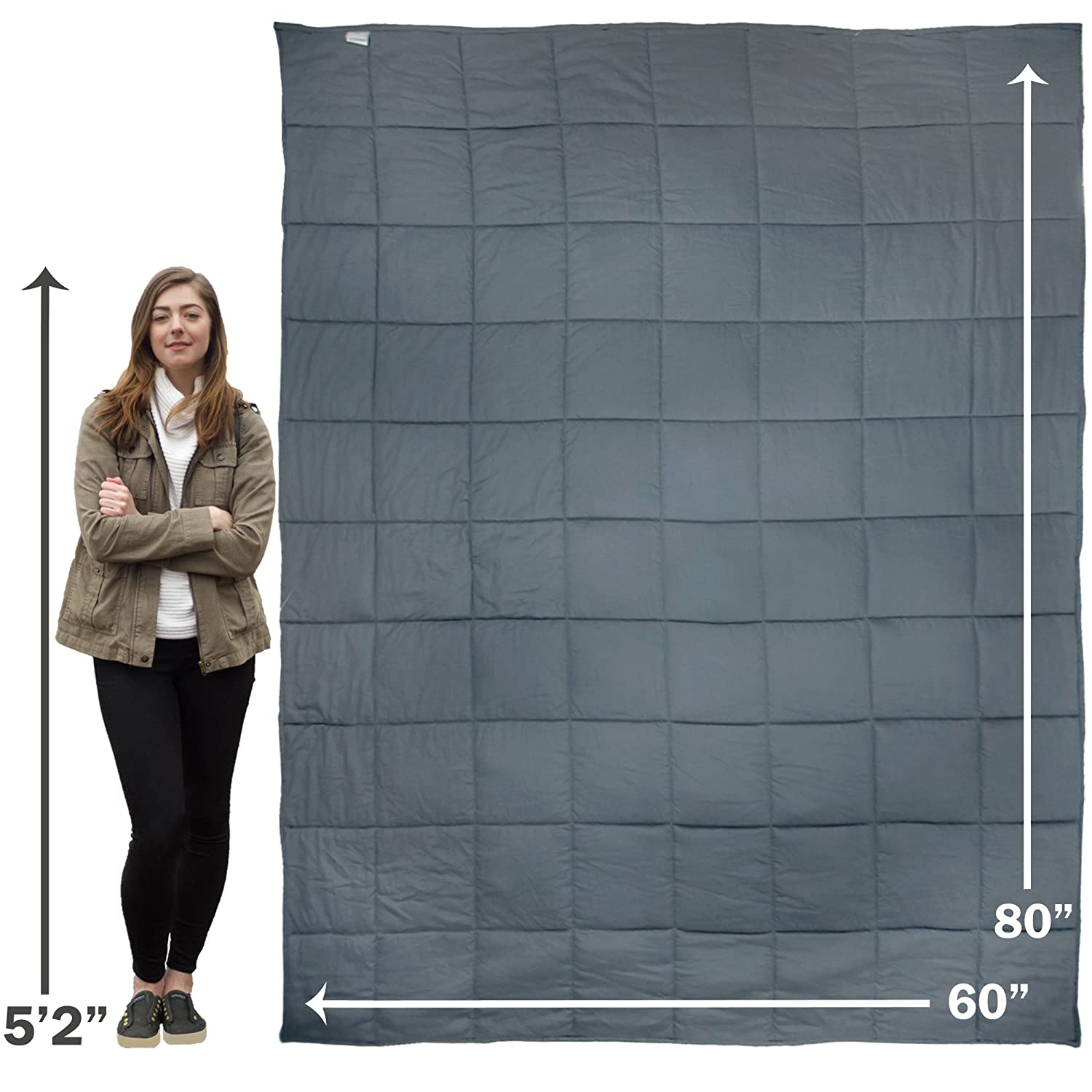 Premium Oversized 15 lb Weighted Anxiety Blanket for Adults weighing 100-150 lbs, Helps with Anxiety, Autism, OCD, ADHD, and Sensory Disorders (60