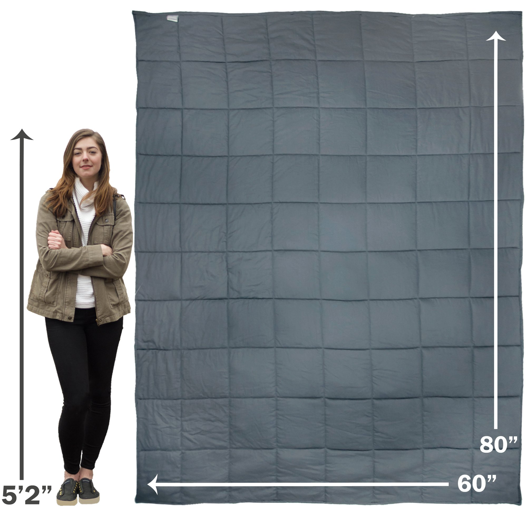 Premium Oversized 15 lb Weighted Anxiety Blanket for Adults weighing 100-150 lbs, Helps with Anxiety, Autism, OCD, ADHD, and Sensory Disorders (60''x80''), Sleep better with AnxietyBlankets