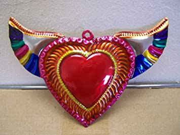 Amazoncom Painted Tin Sacred Heart With Wings Mexico Arts