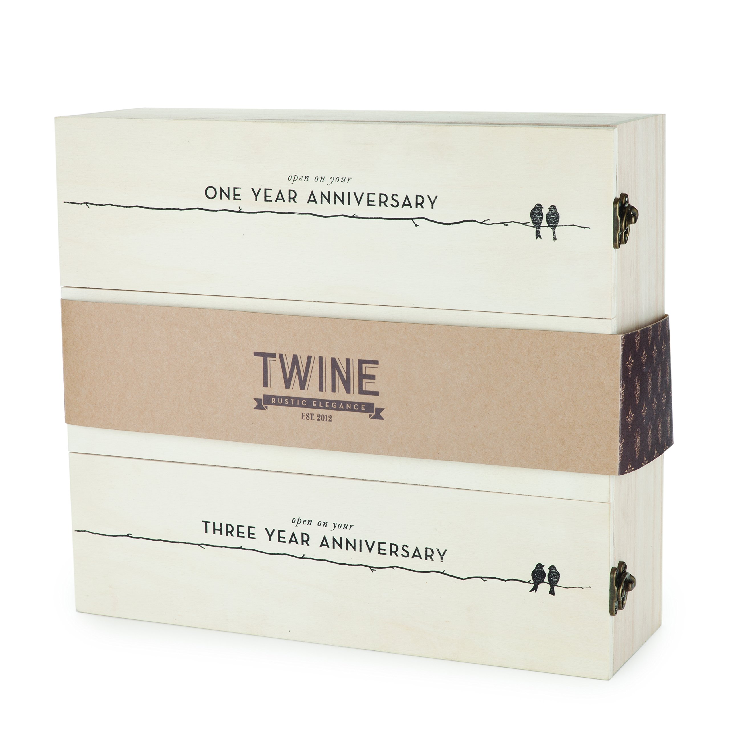 Boulevard Newlywed's Anniversary Wooden Wine Box by Twine – 3 Bottle Gift Box by Twine (Image #4)