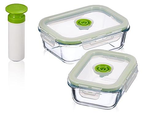 Superbe 5 Pc Glass Vacuum Seal Food Storage Container Set | Hand Held Vacuum Food  System |