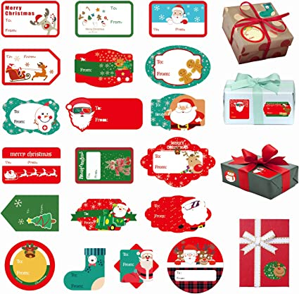 30 Christmas Sticker Peel Stick Gift Tags Label Xmas Party Present Tie Wrapping