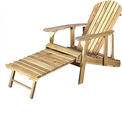 GDFStudio Halley Outdoor Reclining Wood Adirondack Chair