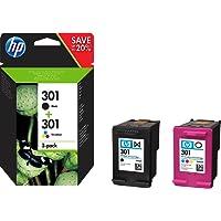 HP N9J72AE - Pack de ahorro de 2 cartuchos de tinta Original HP 301 para HP DeskJet, HP OfficeJet y HP ENVY, Negro/Tricolor
