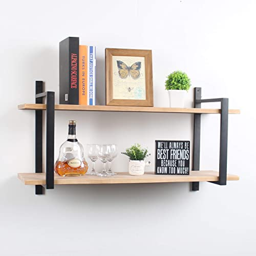 Womio Industrial Bookshelf/Bookcase Wall Mount,2 Tier Metal Wood Wall Shelf Unit,36in Rustic Book Shelves,Hanging Wall Shelves