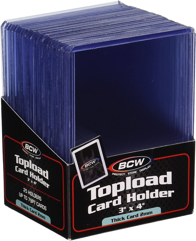 Jersey//Memorabilia cards toploaders 3x4 BCW 2 mm 79 pt Topload Holders 125