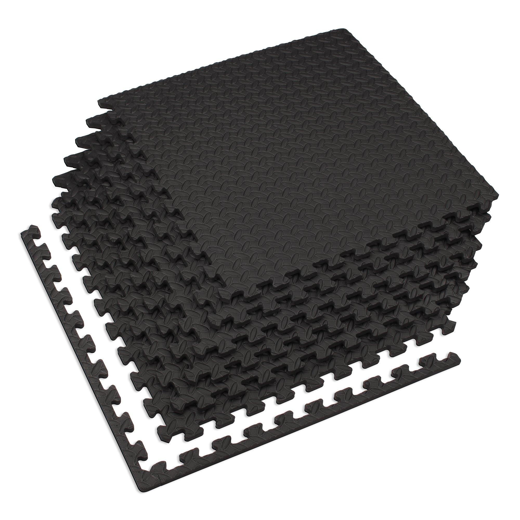 Velotas 24 Sq Ft (6 Tiles) Black 1/2-inch Thick Interlocking Foam Fitness Mat