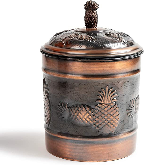 NuSteel Pineapple 1 QT Stainless Steel, Beautiful Food Storage Container for Kitchen Counter, Tea, Sugar, Coffee, Caddy, Flour Canister with Rubber Seal lid, Copper Antique