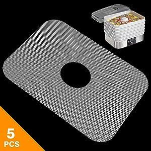 GUCUJI Pack of 5 Premium Non Stick Silicone Dehydrator Sheets Fruit Dryer Mesh for Hamilton Beach 32100A