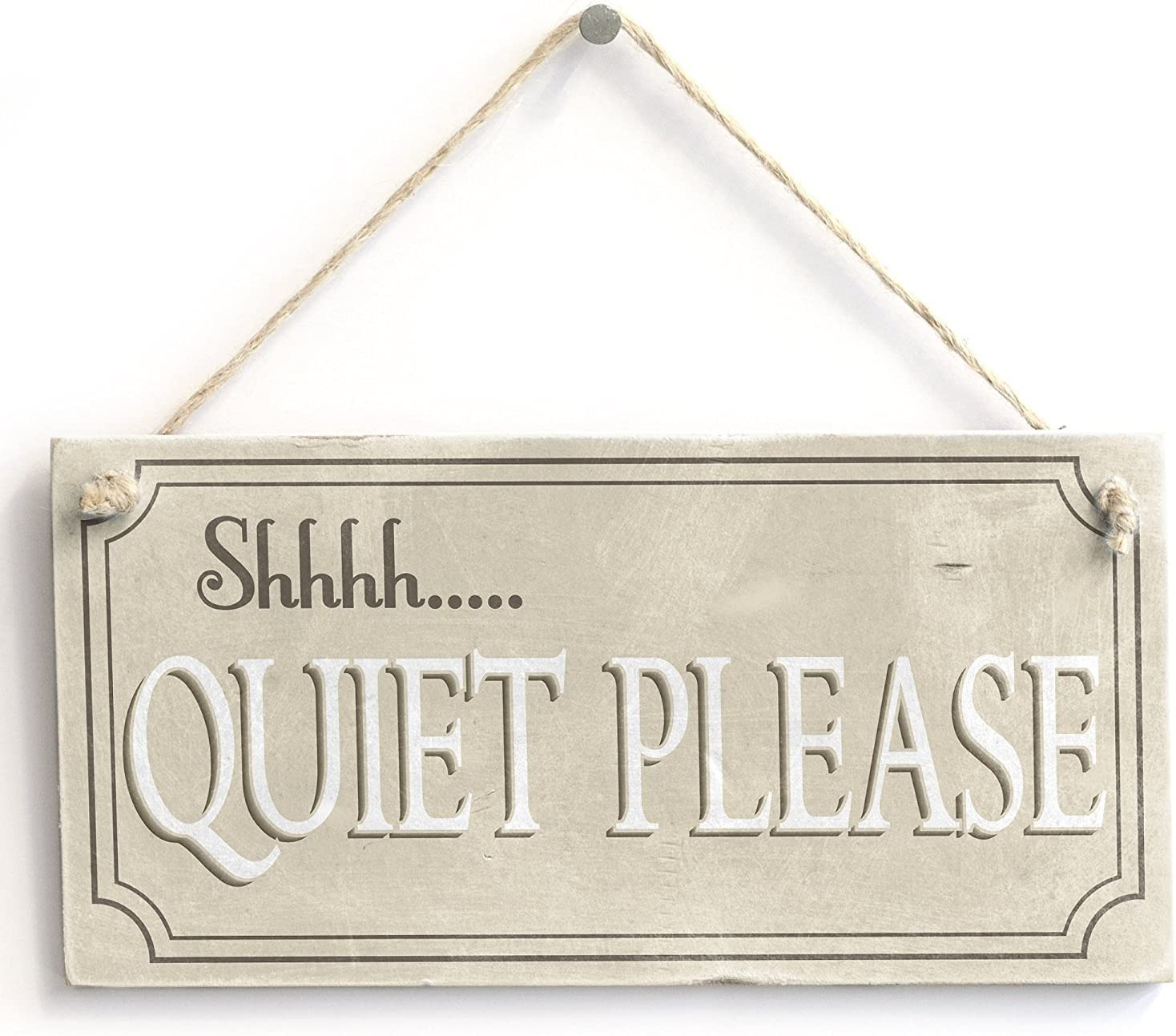 Meijiafei Shhhh. Quiet Please - Rustic Hanging PVC Library Home Decor Sign10 x5