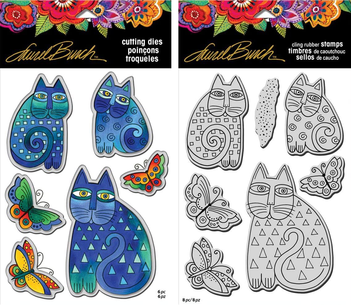 2 Item Bundle Stampendous Laurel Burch Cling Stamp and Die Imagine Butterflies